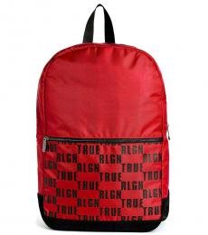 True Religion Ruby Red Logo Block Large Backpack