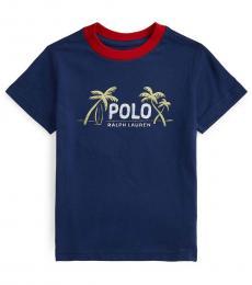 Ralph Lauren Little Boys Navy Graphic T-Shirt