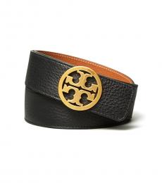Tory Burch Black Cuoio  Gold Reversible Logo Belt