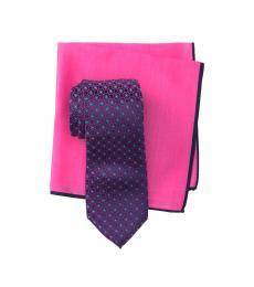 Pink Flower Link Tie & Pocket Square Set