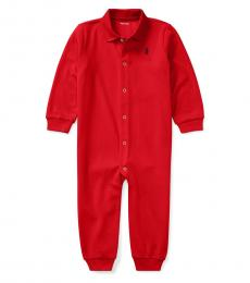 Ralph Lauren Baby Boys Red Polo Coverall