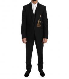 Black Wool 3 Piece Sequin Guitar Suit
