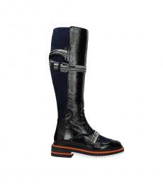 Black Front Logo Long Boots