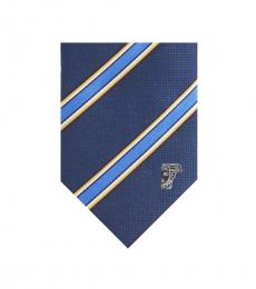 Versace Blue Stripe Silk Tie