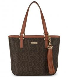Dark Brown Signature Print Large Tote