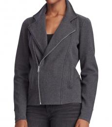 Ralph Lauren Dark Grey Cotton-Blend Moto Jacket
