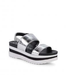 Silver Greece Crinkle Slingback Heels