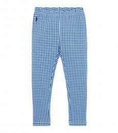 Ralph Lauren Little Girls Blue Gingham Stretch Leggings