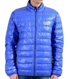 Emporio Armani Blue Full Zip Hooded Light Parka Jacket