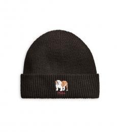 Ralph Lauren Charcoal Bulldog Rib-Knit Beanie