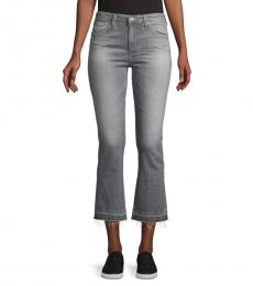 Grey Slim-Fit High-Rise Flare Jeans