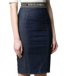 Denim Logo Pencil Skirt