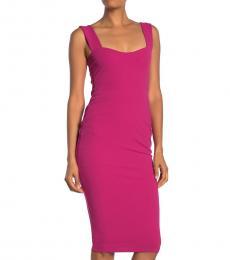 Dark Pink Sleeveless Midi Dress