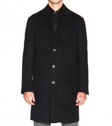 Ermenegildo Zegna Black Buttoned Trench Coat