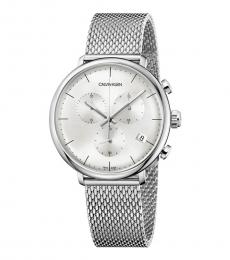 Silver Noon Chronograph Watch
