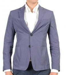 Prada Blue Checkered Two Buttons Blazer
