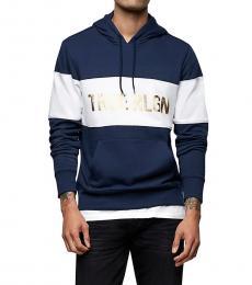 Navy Blue Logo Sweatshirt Hoodie