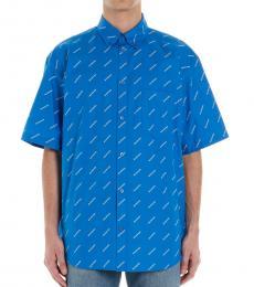 Balenciaga Blue All Over Logo Short Sleeve Shirt