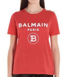 Balmain Red Cotton Logo T-Shirt