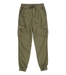 7 For All Mankind Boys Olive Cargo Pocket Joggers