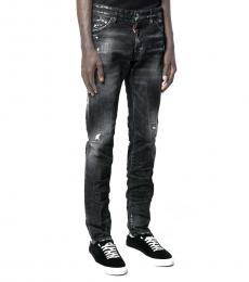 Dsquared2 Black Wrinkle Effect Distressed Jeans