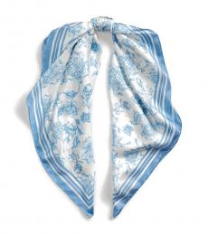 Ralph Lauren Cream-Blue Alexa Floral Silk Scarf