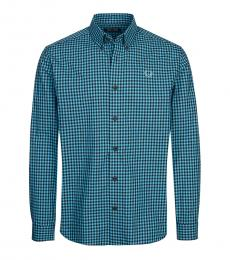 Fred Perry Turquoise Check Logo Shirt