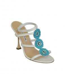 Manolo blahnik White Turquoise Beaded Heels