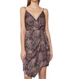 BCBGMaxazria Black Animal-Print Wrap Dress