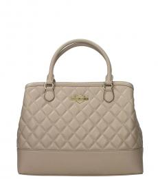 Love Moschino Grey Quilted Large Satchel