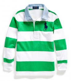 Little Boys Golf Green Big Pony Striped Polo