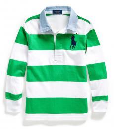 Ralph Lauren Little Boys Golf Green Big Pony Striped Polo