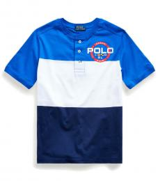Ralph Lauren Boys Pacific Royal Graphic Henley T-Shirt
