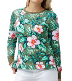 Tommy Bahama Olive Floral Print Top
