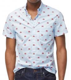 Light Blue Short-Sleeve Slim Crab Shirt
