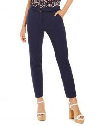 Navy Blue D-Ring Belted Pants