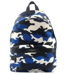 Michael Kors Blue Kent Camo Large Backpack