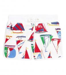 Ralph Lauren Little Girls White Sailboat-Print Shorts