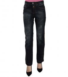 Just Cavalli Blue Washed High Waist Straight Denim Jeans