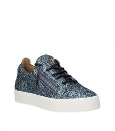 Giuseppe Zanotti Blue Glitter Low Top Sneakers