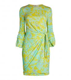 Diane Von Furstenberg Light Green Print Side-Knot Sheath Dress