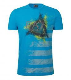 Emporio Armani Turquoise Graphic Logo T-Shirt
