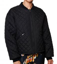 Betsey Johnson Black Quilted Reversible Bomber Jacket