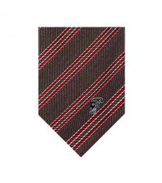 Versace Brown Red Striped Tie