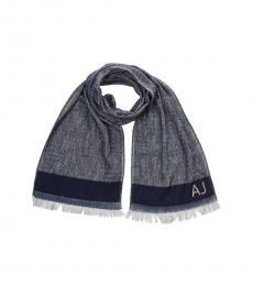 Armani Jeans Dark Blue  Solid Logo Scarf