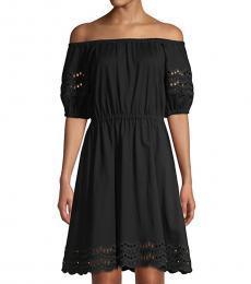 Kate Spade Black Scallop Offshoulder A-Line Dress