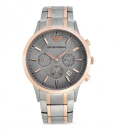 Emporio Armani Silver-Rose Gold Logo Watch