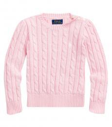 Ralph Lauren Little Girls Carmel Pink Cable-Knit Sweater
