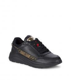 Roberto Cavalli Black Lace Up Sneakers