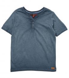 7 For All Mankind Boys Indigo Henley Slub Jersey T-Shirt